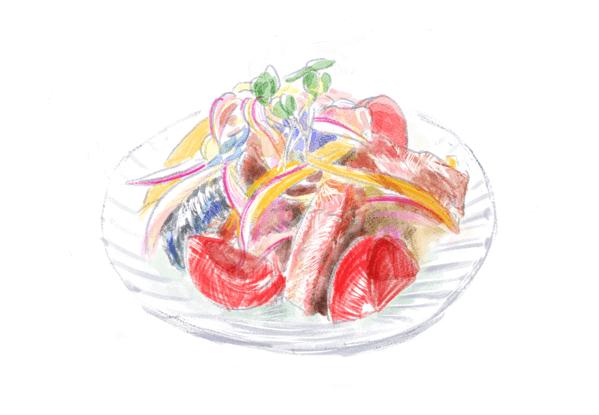 鯖缶マリネのイラスト