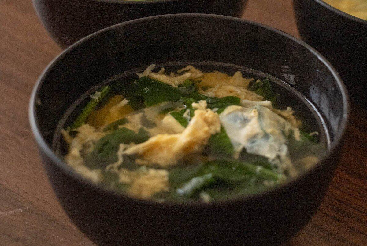 ほうれん草と卵の洋風スープの完成写真