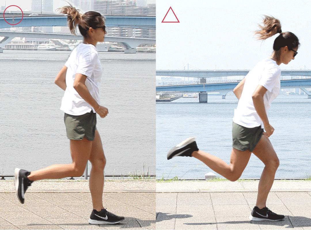佐野千晃さんが「足が流れる」とはどんな状態かを説明する写真