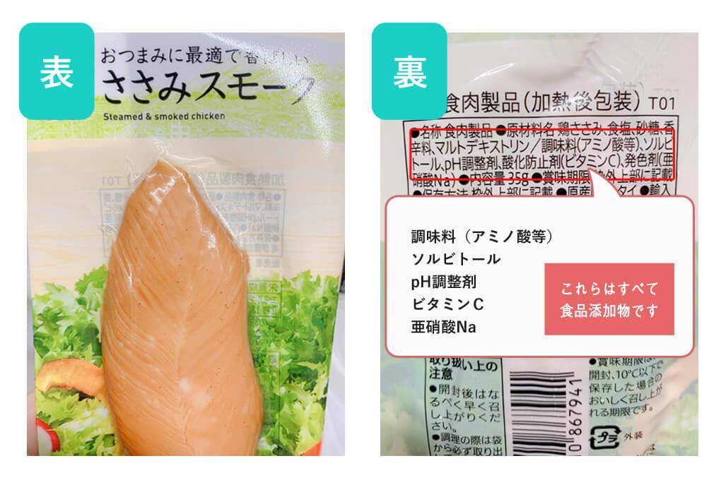 セブンイレブンで販売されているささみスモークの食品添加物を説明する図