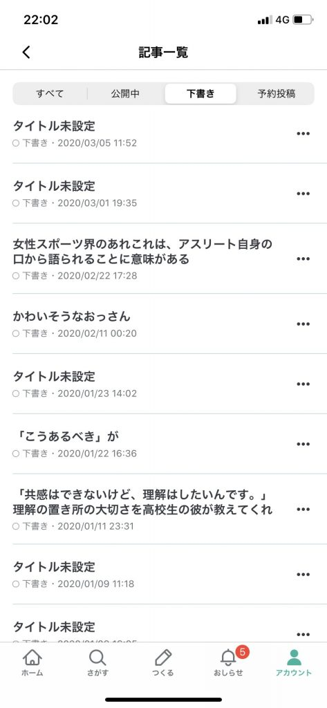 下山田さんのnote下書きページの写真